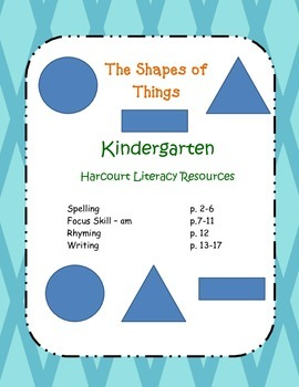 "Kindergarten Harcourt Literacy Worksheets ""The Shape of Things"""