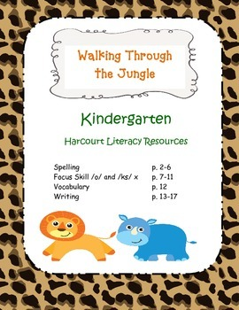 "Kindergarten Harcourt Worksheets ""Walking Through the Jungle"""