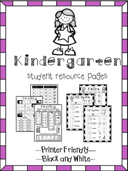 Kindergarten Help Pages for Reading and Math Folders, Home