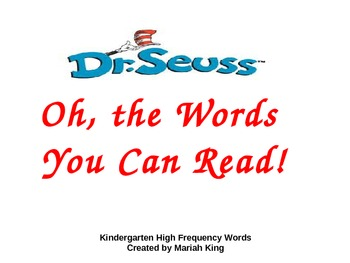 Kindergarten High Frequency Words Practice