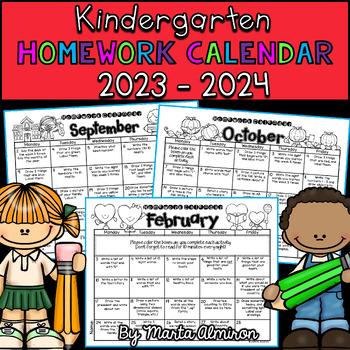 Kindergarten Homework Calendar