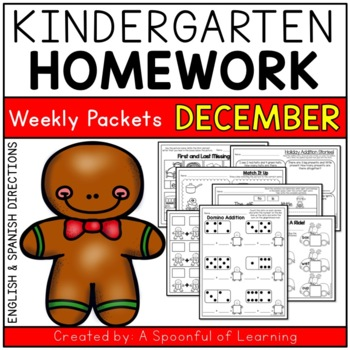 Kindergarten Homework- December (English & Spanish Directi