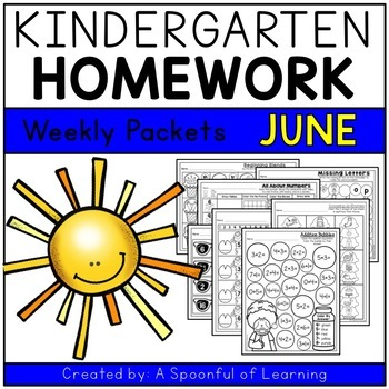 Kindergarten Homework- June (English Only) Aligned to CC