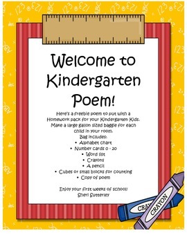 Kindergarten Homework Pack Poem