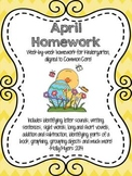 Kindergarten Homework Packet - April - English and Spanish