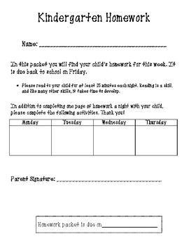 Kindergarten Homework Packet Coversheet