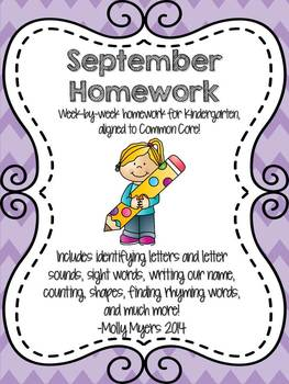 Kindergarten Homework Packet - September - English and Spa