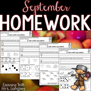 Kindergarten Homework SEPTEMBER