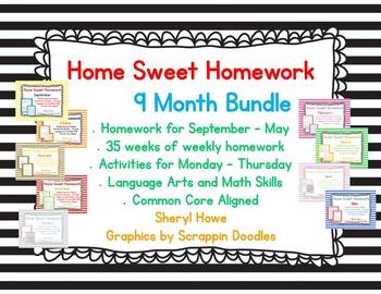 Kindergarten Homework: September - May Home Sweet Homework Bundle