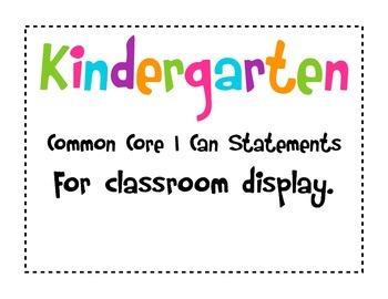 Kindergarten I Can Common Core Math Statements