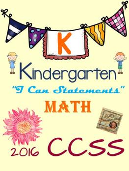 "Kindergarten ""I Can Statements"" 2016 CCSS Standards - Math"