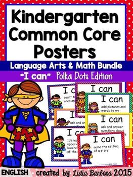 Kindergarten  I can Common Core Posters Bundle in Polka Do