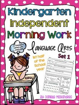 Kindergarten Independent Morning Work *60 Pages {LA- Set 1