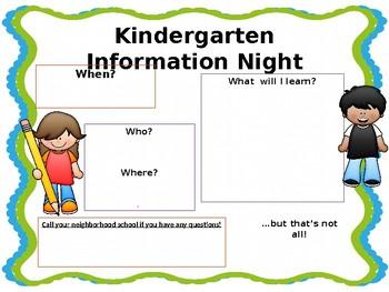 Kindergarten Information Night Flyer - EDITABLE