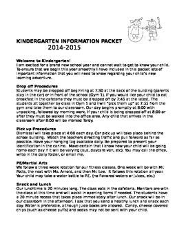 Kindergarten Information Packet