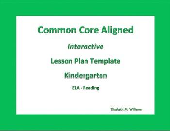 Kindergarten   Interactive Common Core Aligned  Lesson Pla
