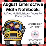 Kindergarten Interactive Math Journal for August