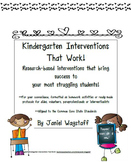 Kindergarten Interventions That Work Writing Name, Letters