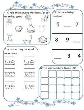 January Morning Work for Kindergarten