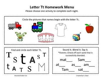 Letter Tt Homework Menu
