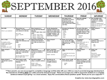 Kindergarten Language Calendar September 2016