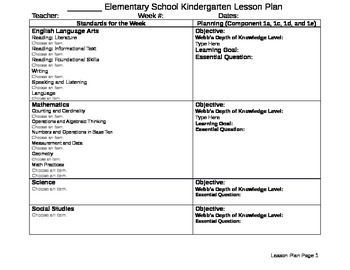 Kindergarten Lesson Plan (CCSS)