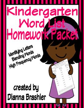 Kindergarten Word List Identifying Letters, Blending Words
