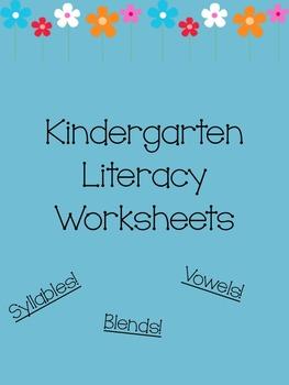 Kindergarten Lit Worksheets *Blends, Vowels, Syllables!*
