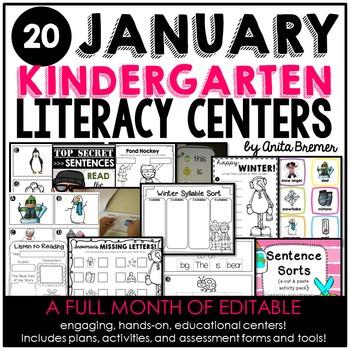 Kindergarten Literacy Centers {January}