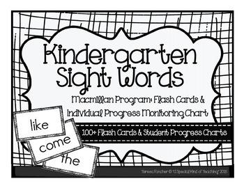Kindergarten: MacMillan McGraw-Hill Sight Word Flash Cards