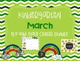 Kindergarten March ELA and Math Center Bundle