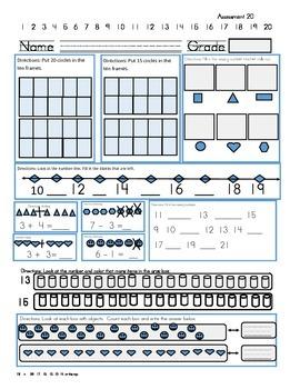 Kindergarten Math Assessment 15-20
