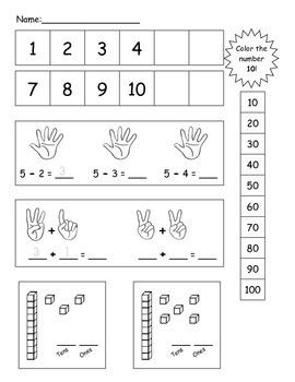 Kindergarten Math Boxes, Number sense, Addition, SPED Math