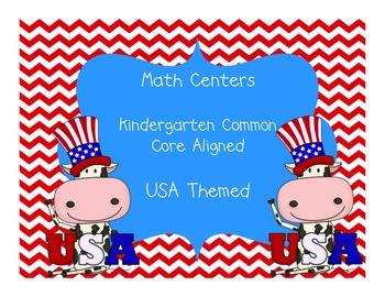 Kindergarten Math Centers USA Themed