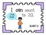 Kindergarten Math Common Core- I Can Statements Wall Set