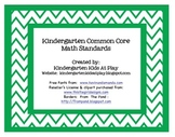 """Kindergarten Math Common Core Standards Posters """"I Can Sta"""