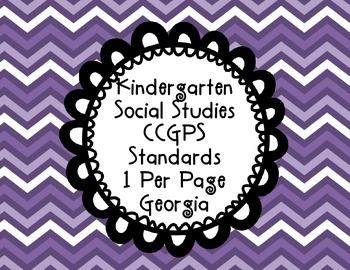 Kindergarten Social Studies Georgia  Common Core Standards