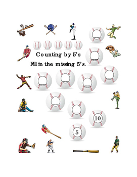Kindergarten Math Counting by 5's Numbers Spring Baseball