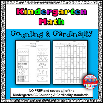 Kindergarten Math: Differentiated No-Prep Counting & Cardi