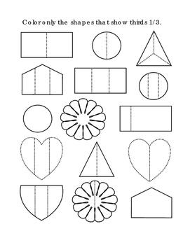 Kindergarten Math Fractions Thirds Color Shapes Common Cor