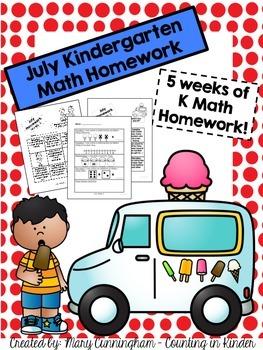 Kindergarten Math Homework {July}