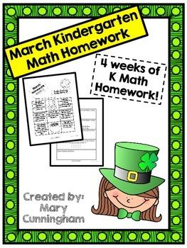 Kindergarten Math Homework {March}