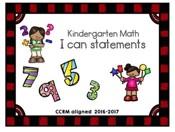 "Kindergarten Math ""I can statements"""
