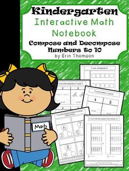 Kindergarten Math Interactive Notebook ~ Composing and Dec