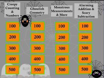 Kindergarten Math Jeopardy ~ CCSS Promethean Halloween Fli