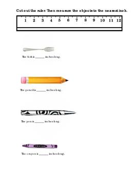 Kindergarten Math Measurement Ruler How Many Inches Cut Ou