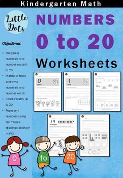Kindergarten Math - Numbers 0 to 20 Worksheets