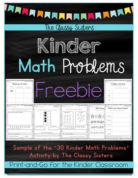 Kindergarten Math Problems Freebie