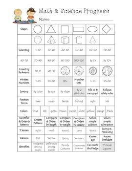 Kindergarten Math & Science Progress Monitoring Goal Sheet