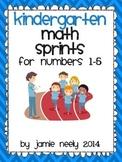 Kindergarten Math Sprints for Numbers 1-5